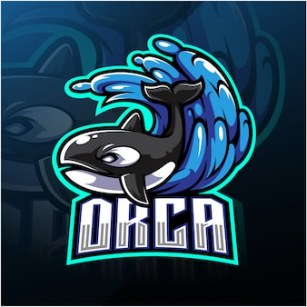 Orca esport mascotte logo ontwerp
