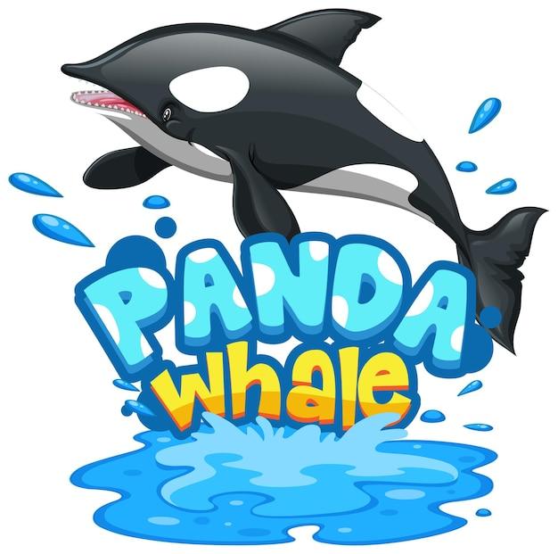 Orca of orka stripfiguur met panda whale lettertype banner geïsoleerd