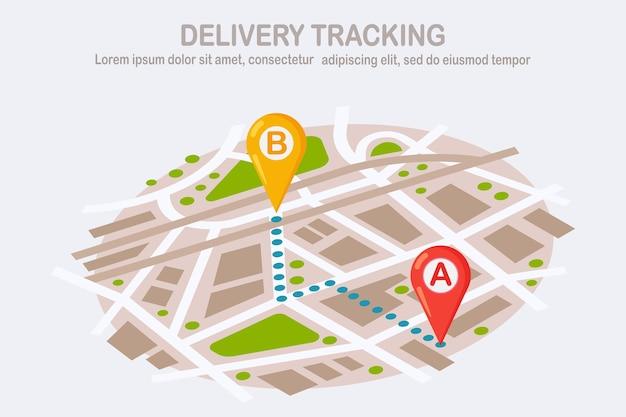 Order volgen. levering, transportpakket. kaart met pin, aanwijzer. verzending van pakket