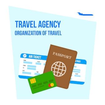 Organisatie van reizen belettering vlakke afbeelding