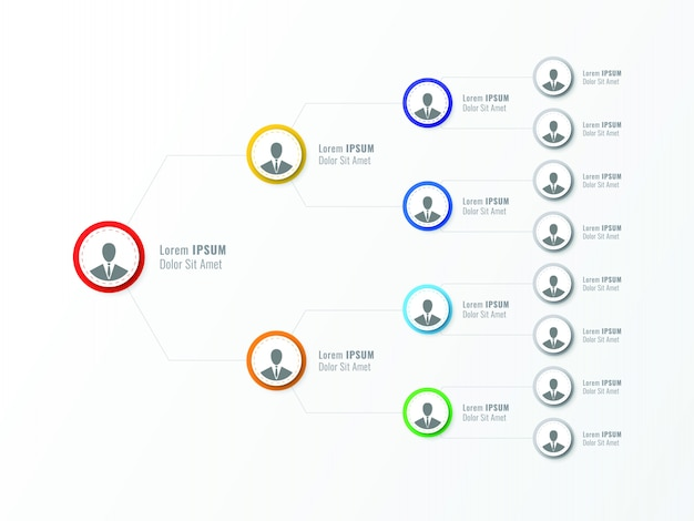Organisatiestructuur van het bedrijf. zakelijke hiërarchie infographic elementen.