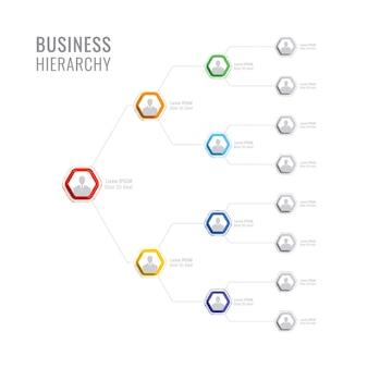 Organisatiestructuur van het bedrijf. zakelijke hiërarchie zeshoekige infographic elementen.
