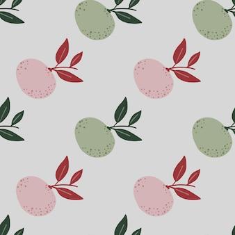Organisch bleke tonen naadloos patroon met roze en groen mandarijnornament.