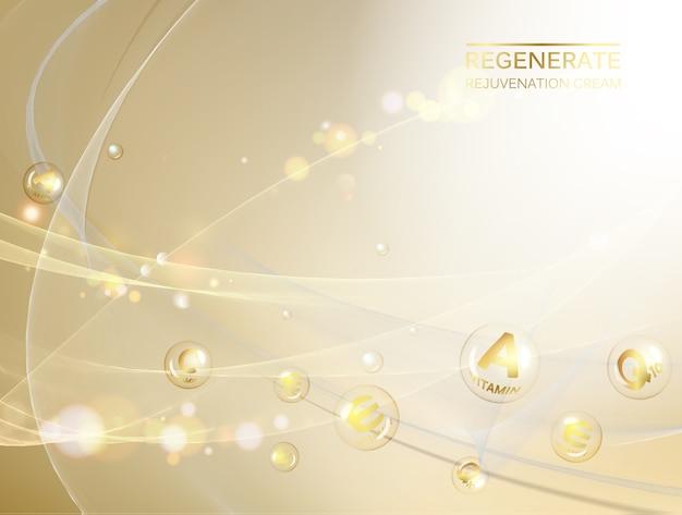 Organisch cosmetisch en huidverzorgingsontwerp over gouden.