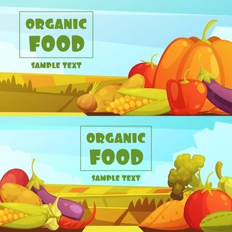 Organisch gekweekte landbouwersgroenten twee horizontale retro banners van de plattelandsoogst