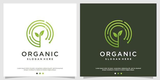 Organisch logo-ontwerp met moderne stijl premium vector