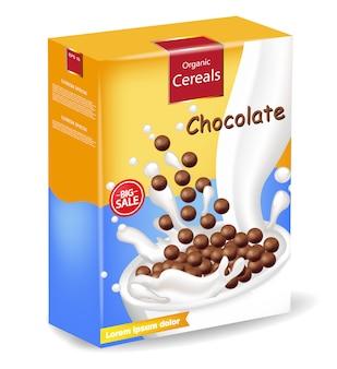 Organisch pakket met chocolademelkgraanproducten