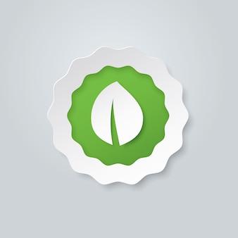 Organisch papieren label met groen blad, vectorillustratie