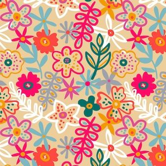 Organisch plat abstract bloemenpatroon