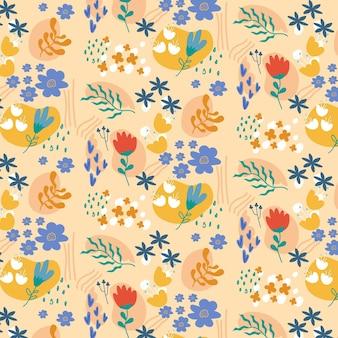 Organisch plat abstract bloemenpatroon Gratis Vector