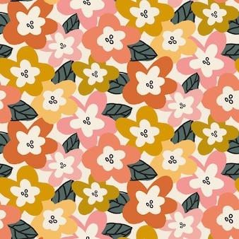 Organisch plat abstract bloemenpatroon Premium Vector