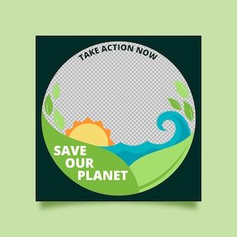 Organisch plat facebook-frame voor klimaatverandering