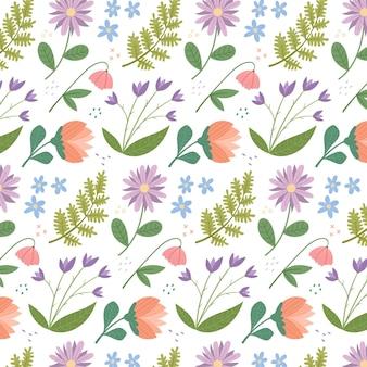 Organisch plat gedrukt bloemenpatroon Gratis Vector