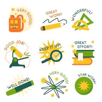 Organisch plat goed gedaan en geweldig werk stickers