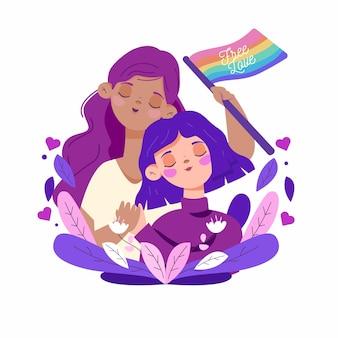 Organisch plat lesbisch koppel met lgbt-vlag