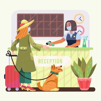 Organisch plat nieuw normaal in hotelsillustratie