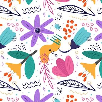 Organisch plat ontwerp abstract bloemenpatroon Gratis Vector