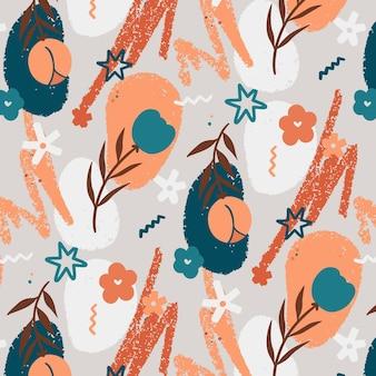 Organisch plat ontwerp abstract bloemenpatroon