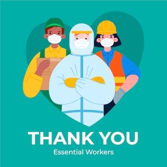 Organisch plat ontwerp bedankt essentiële werknemers