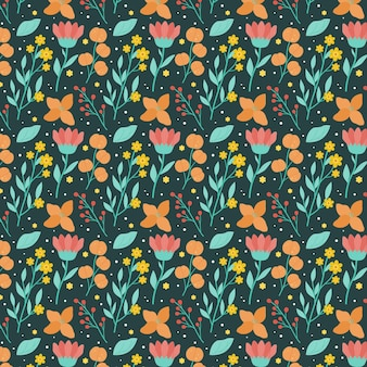 Organisch plat ontwerp gedrukt bloemenpatroon