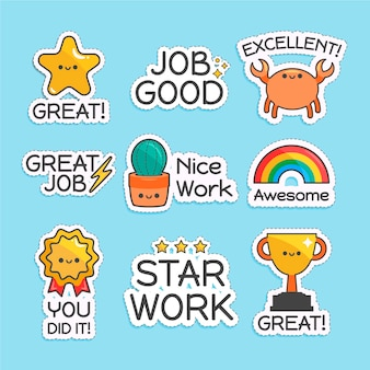 Organisch plat ontwerp geweldige job stickers set