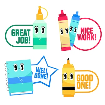 Organisch plat ontwerp goed werk stickers set