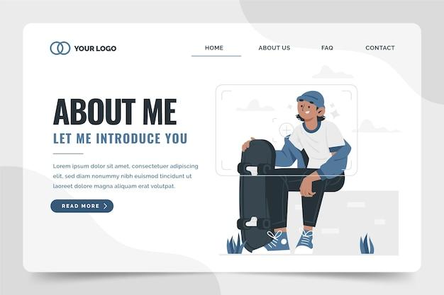Organisch plat ontwerp over mij geïllustreerde websjabloon