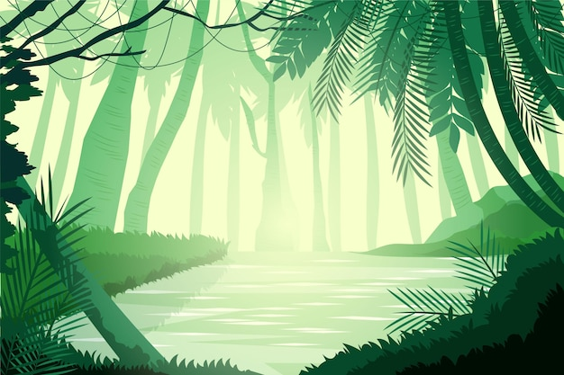 Organisch plat ontwerp van jungle achtergrond