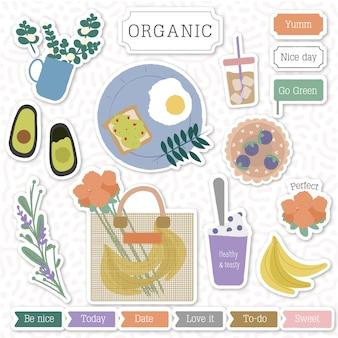 Organisch schattig stickerpakket