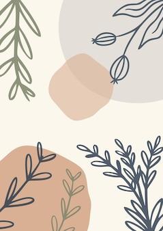 Organische abstracte minimalistische pastelachtergrond met bladeren, achtergrond in memphis-stijl