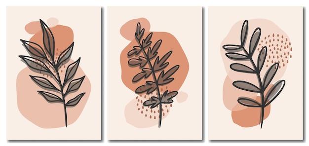 Organische abstracte minimalistische pastelachtergrond met bladerencollectie, memphis-stijlachtergrond