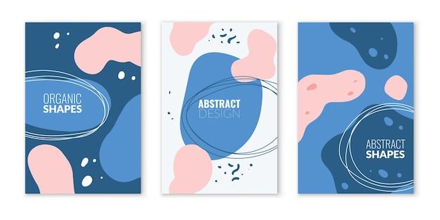 Organische abstracte vormen. moderne golvende vloeibare vorm samenstelling, pastel blauw en roze gekleurde textuur sjabloon voor blogs, eenvoudige moderne verpakking of flyer, vector verticale camouflage posters collectie