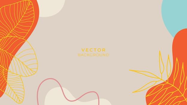 Organische achtergrond met bloemen- en geometrische elementen in aardetinten. voor posts op sociale media, mobiele apps, bannerontwerp en web- of internetadvertenties. mode boho achtergrond