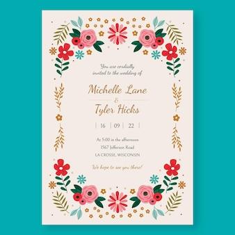 Organische bloemenhuwelijksuitnodiging