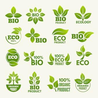 Organische ecoemblemen en etiketten