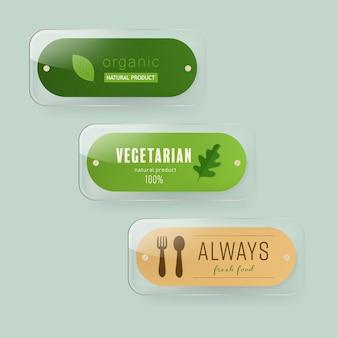 Organische en natuurlijke glazen banner set.