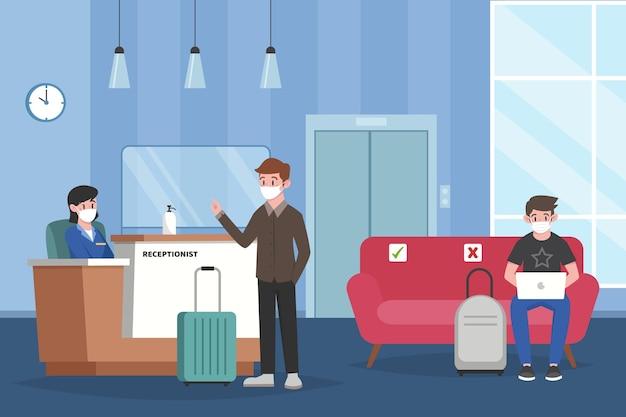Organische flat nieuw normaal in geïllustreerde hotels