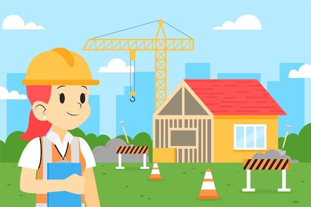 Organische ingenieurs die aan de bouw werken