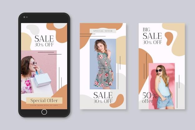 Organische instagram verhalen verkoop collectie sjabloon