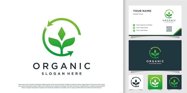 Organische logosjabloon met modern element premium vector