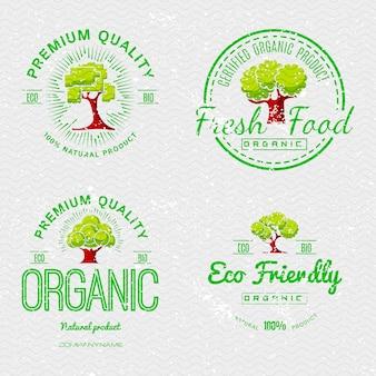 Organische natuurlijke ecologische stickers instellen