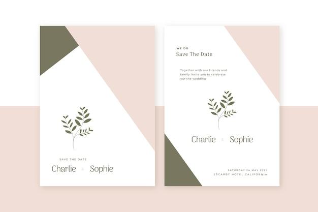 Organische plat minimalistische bruiloft uitnodiging sjabloon