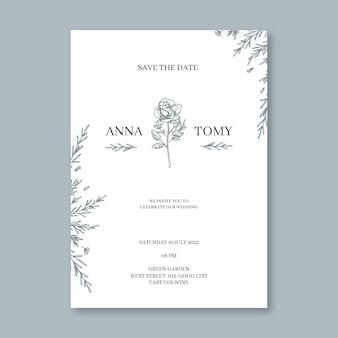 Organische plat minimalistische huwelijksuitnodiging
