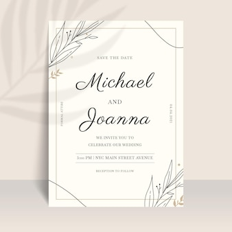 Organische plat minimalistische huwelijksuitnodiging Gratis Vector