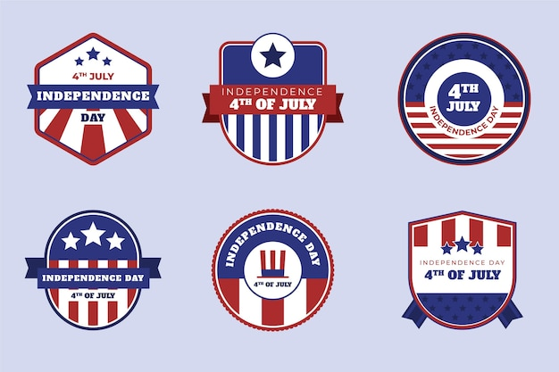 Organische platte 4 juli badge-collectie voor de onafhankelijkheidsdag