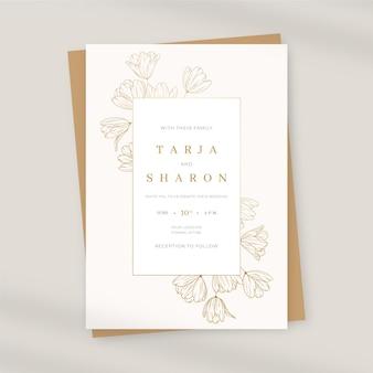Organische platte bloemen bruiloft uitnodiging