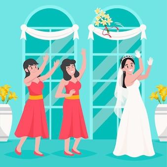 Organische platte bruidsmeisjes die een belangrijke dag vieren