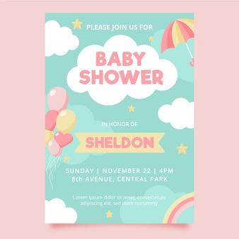 Organische platte chuva de amor baby shower uitnodiging sjabloon