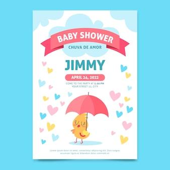 Organische platte chuva de amor baby showeruitnodiging
