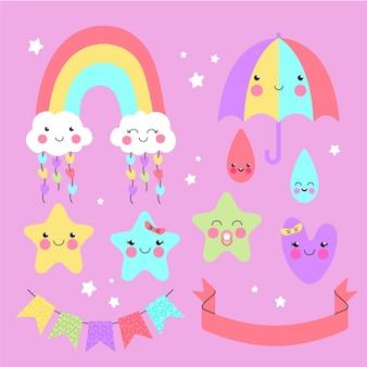 Organische platte chuva de amor decoratie-elementcollectie